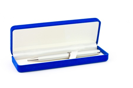 Pen in box on white background photo