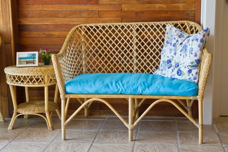 Wicker chairs in living room Stock Photo