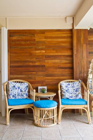 Wicker chairs in living room Editorial