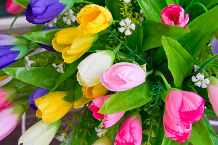 Colorful cloth flower photo