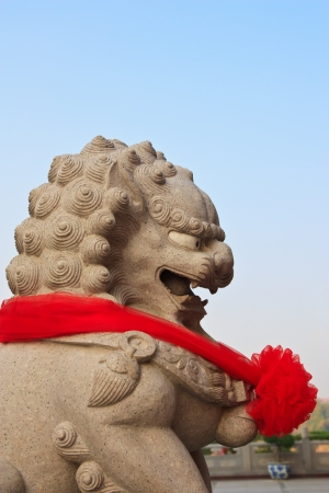 Chinese lion statue in chinese temple  photo