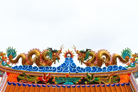Double gragon statue on chinese temple roof photo