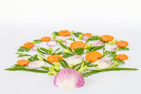 Vegetables arranged in a flower pot shape  photo