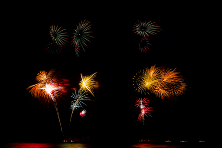 the majesty: International Fireworks Show In honor of His Majesty the King RAMA IX at Hua Hin District, Prachuap Khiri Khan Province, Thailand