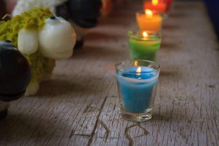 Colorful celebration candles photo