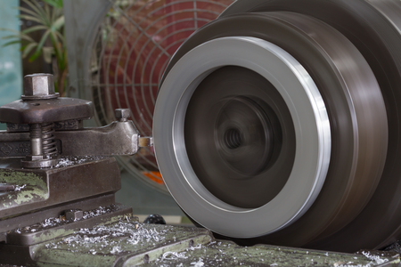 high torque: Lathe machine is working
