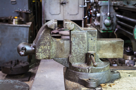 work took: Old Bench Vise Stock Photo