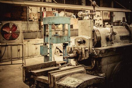 turning operation: Old planer machine Stock Photo
