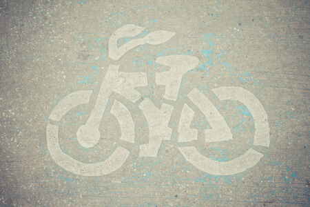 Bicycle road sign in retro picture style photo