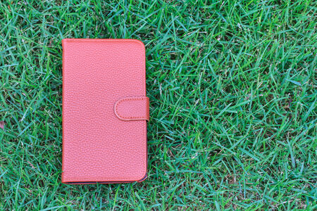 Leather case cover for smartphone Stock Photo