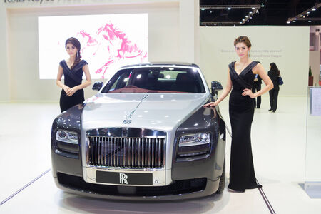 Unidentified modelling post over Rolls Royce Ghost Extened Wheelbase showed in 35th Bangkok International Motor Show on March 25, 2014