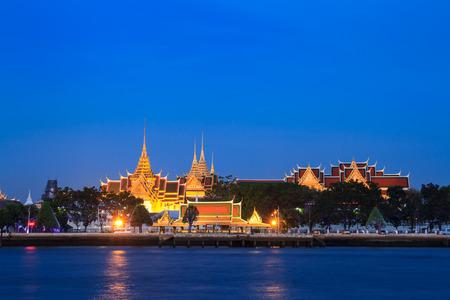 Wat Phra Kaew and Grand Palace alongside Chao Phraya river in Bangkok, Thailand  Both are Thailand property anyone can take photos and use  Stock Photo