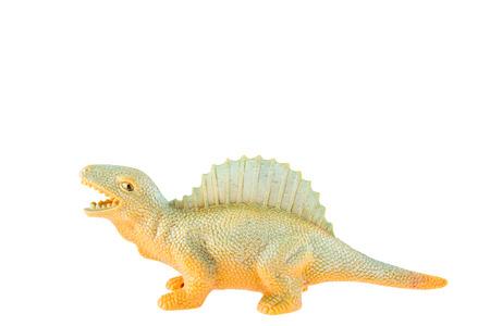 Plastic dinosaur toy isolated on white background photo