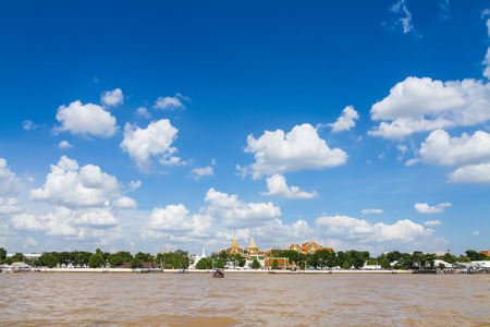 phraya: Wat pra kaew and the Grand palace alongside Chao Phraya river in Bangkok, Thailand