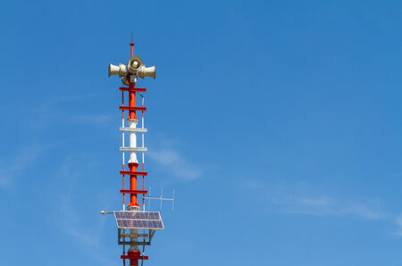 mega phone: Speakers on tower for announcement