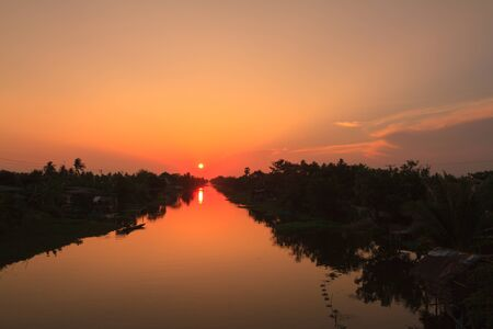 klong: Klong Mahasawat canal in Maha Sawat district, Phutthamonthon district, Thailand Stock Photo