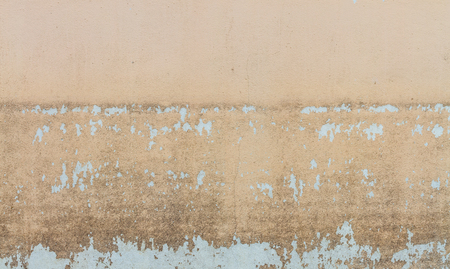 seepage: Water level stain pattern after flood on wall house in Thailand Stock Photo