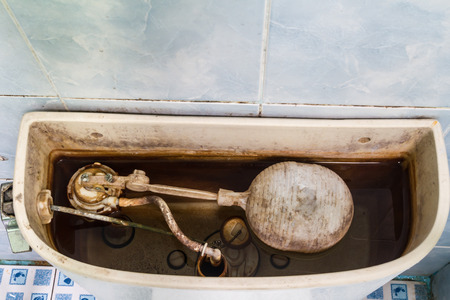Dirty flush toilet mechanism in restroom