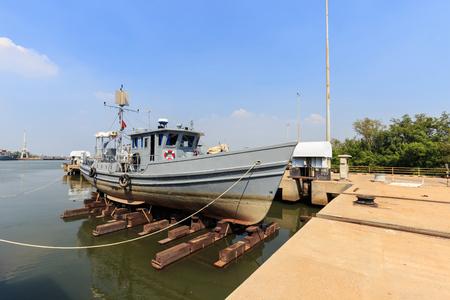 slipway: Military boat on synchrolift for repairing