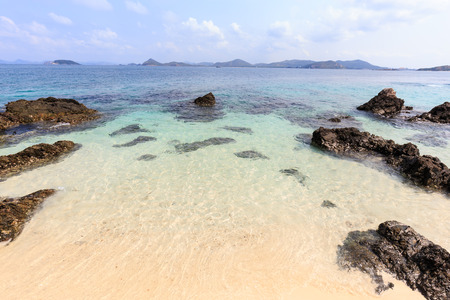 chonburi: Sea beach with the rocks and clear water at koh kham island in Sattahip Chonburi Thailand