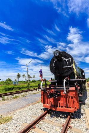 Antique steam trains in the station with blue sky background Stock Photo