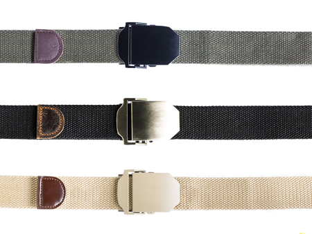 tactical: Mens fashion outdoor military tactical belt on white background Stock Photo