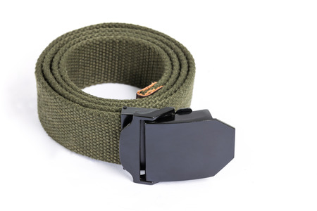 mens fashion: Mens fashion outdoor military tactical belt on white background Stock Photo