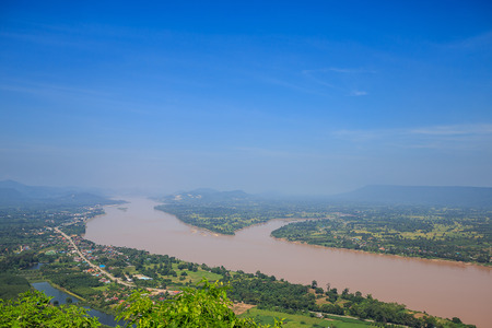 Mekong River with morning fog looked from transparent sky walk at Wat Pha Tak Suea in Sangkom District., Nong Khai Province.,Thailand
