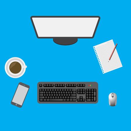 Vector illustration of desktop workspace