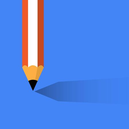Vector illustration of pencil with shadow on blue background Illustration