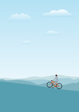 bicycler: Vector illustration of cycler on the mountains with backpack