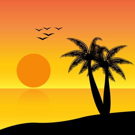 Silhouette coconut palm trees with sunset Illustration