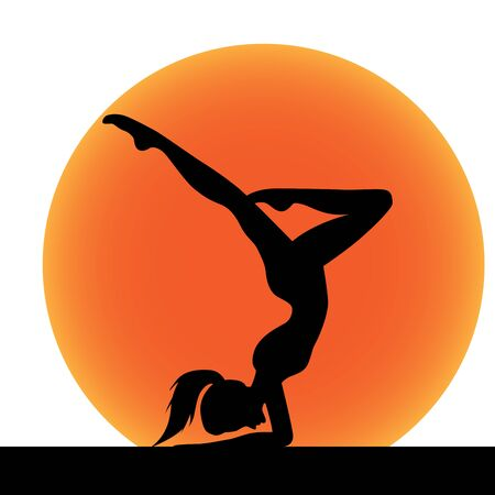 Yoga silhouette and sun on white background