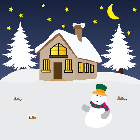 Vector illustration of a winter night background with a snowman and a house