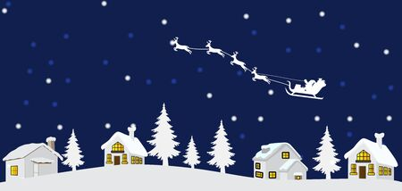 Vector illustration of chrismas night with chrismas tree and santa claus and reindeers and home Иллюстрация
