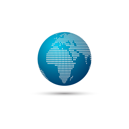 Dotted world map focus on africa vector illustration