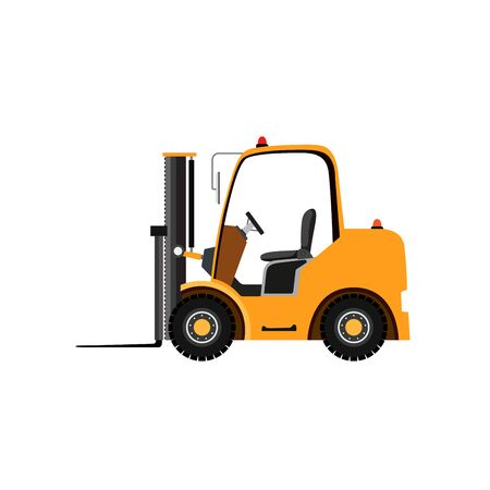 Yellow forklift truck on white background. Illustration