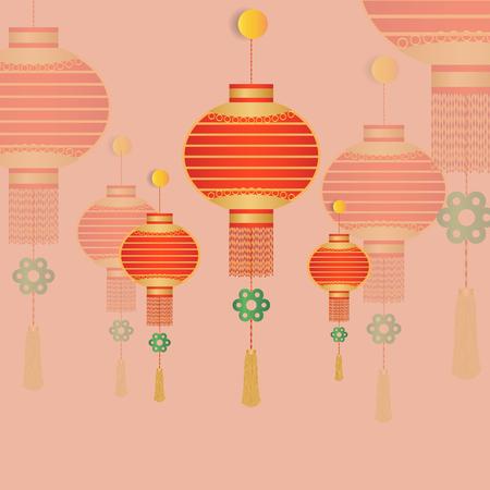 Chinese lantern on pink vintage background vector illustration