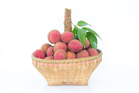 Bunch of lychees with leaves on white background Stok Fotoğraf