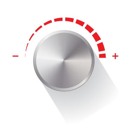 Vector illustratie van de niveauregeling van de draaiknop met schaduw