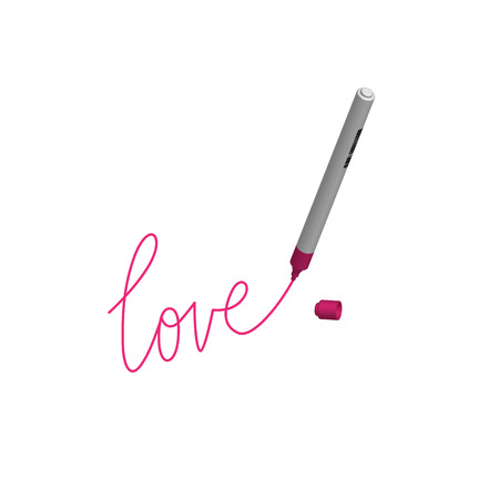 Love write with marker., vector illustration