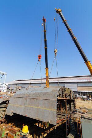 Ship building shoot inside of dry dock