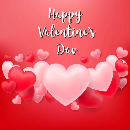Fondo romantico rosso e bianco dei cuori di San Valentino che galleggia con i saluti del giorno di San Valentino felice