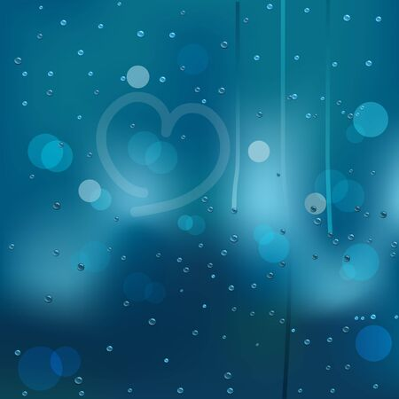 Vector illustration of window covered with raindrops