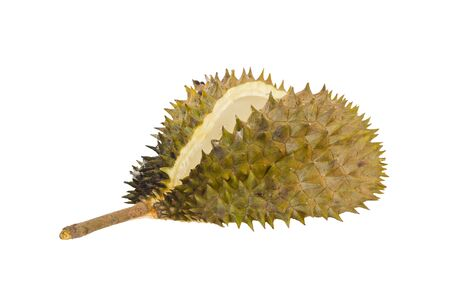 overturn: overturn peeled durian isolated on white background. Stock Photo