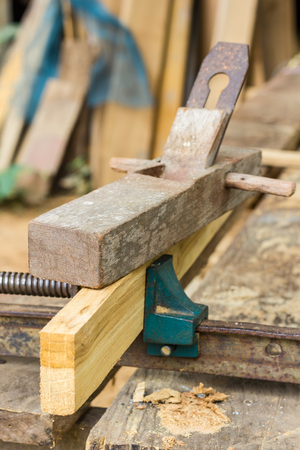 vise: wood plan on clamps wood Stock Photo