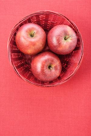 apple basket: Apple Basket Linen Background