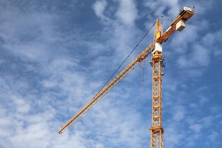 Construction Crane Blue Sky Clouds
