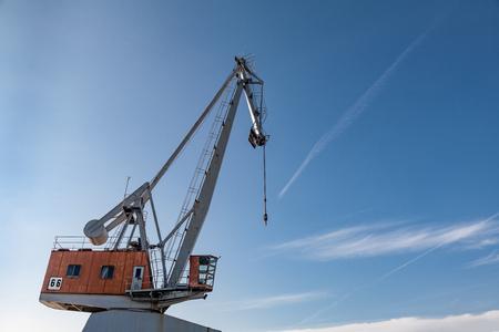 Port industry crane blue sky clouds Stock Photo