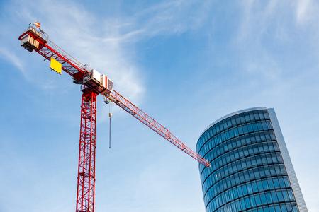 Red Tower Crane Modern Building Blue Sky Stock Photo